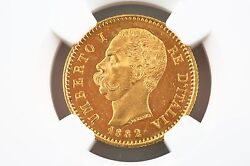 1882 Italian 20 Lire Gold Coin Ms-63 1882r Italy G20l Ngc Certified Ms63