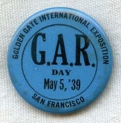 Late Grand Army Of The Republic Gar Celluloid Pin From 1939 San Francisco Expo