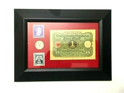 Ww2 Rare German 1 Rp Coin With Stamps And 1 Mark Bill In Disp Frame