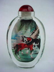 Fine Chinese Horses Inside Hand Painted Glass Snuff Bottle