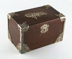 Vintage Wood Cigar Box Humidor W/ Metal Liner And Antique Silverplate Filigree