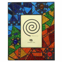 Fair Trade Glass Photo Frame With Multi Coloured Abstract Mosaic Tiles - 4 X 6
