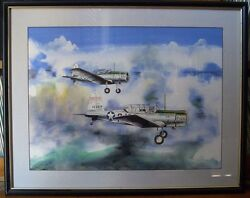 Wwii Jack Hunter The Blue Max Painting Of Usaaf Training W/signed Write-up