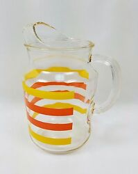 Vintage Yellow And Orange Striped Pitcher Indiana Glass Style With Ice Lip