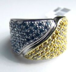 4500 Wide 2.00ct Blue And Yellow Diamond 14k White Gold Ring Size 6.5