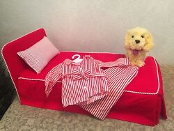 Retired American Girl Molly Bed-Red Striped Pajamas & Honey