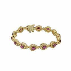 14k Yellow Gold 11.70ct Diamond And Ruby Tear Drop Inspired Womens Bracelet