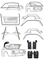 New 1965 - 1966 Ford Mustang Deluxe Weatherstrip Seal Kit Windshield Roof Doors