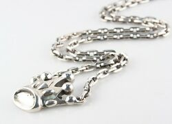 King Baby Studios Sterling Silver Large Crown Pendant W/ 32 Anchor Chain Rare