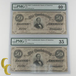 Lot Of 2 Sequential 1864 Confederate 50 Graded By Pmg As Ch Vf-35 And Xf-40 Epq