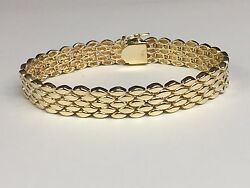 14k Solid Yellow Gold Handmade Menand039s 5 Row Panther Bracelet 11.5 Mm 40 Grams 9