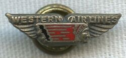 1940's Western Airlines 5 Years Of Service Pin With Red Enamel Details