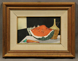 Early 20th Century Signed Italian Marble Inlay Still-life Watermelon And Wine