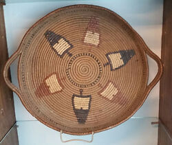 Old Thompson River Indian Basket Tray Coiled Pine Tree Arrowhead Design C-1915