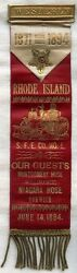 Fabulous, Huge 1894 Westerly, Rhode Island Steam Fire Engine 1 Parade Ribbon