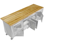 STAINLESS STEEL ISLAND TABLE MAPLE TOP 30