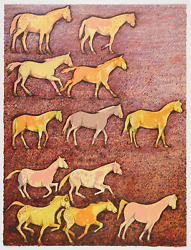 Original Signed Kevin Red Star Lithograph Spirit Ponies 2000 Printers Proof
