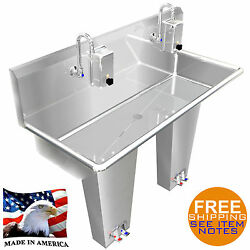 Hand Sink Stainless Steel 2 Person Multi Station 40 Pedal Valve Made In America
