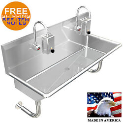 Industrial Hand Sink 2 Users Multistation 48 Elctronic Faucet Made In America