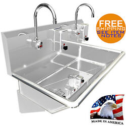 Hand Sink 2 Users Multistation 36 Electr. Faucet 2 Soap Dispensers Made In Usa
