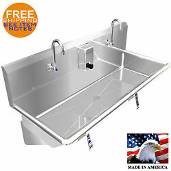 Hand Sink 40 2 Users Multistation Knee Valve Stainless Steel Basin Made In Usa