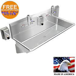 Hand Sink Industrial Multistation Basin 2 Users 48 Stainless Steel Made In Usa