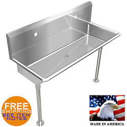 Industrial 2 Users Multistation Wash Up Hand Sink 48 Stainless Steel With Legs