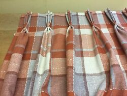 Next Woven Check Rustic Ginger Tartan Lined Pinch Pleat Curtains Hand Sewn
