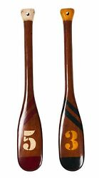 Decorative Backpack Rowing Rowboat Brown Wooden Oars Set Of Two