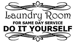 Laundry Room For Same Day Service Vinyl Wall Door Art Decal Removable Sticker