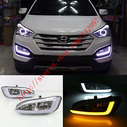 Exact Fit Switchback LED DRL Lights w Turn Signals For Hyundai Santa Fe 2013-15