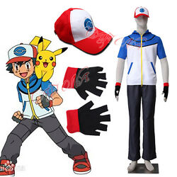 Cafiona Pocket Monsters Pokemon Ash Katchum Cosplay Costume Hat Outfit Any Size