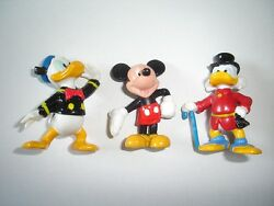 Disney Mickey Mouse Donald Duck Scrooge Bully Rubber Figurines Set Collectibles