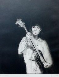 Ronnie Wood Bill Wyman Hand Signed Rolling Stones Drypoint Etching 1988