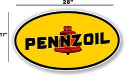 Penn-1 28 Early Pennzoil Oil Lubster Front Decal Gas Pump Sign Gasoline