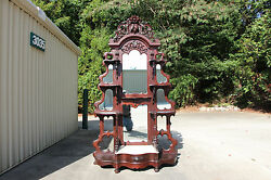 Spectacular Walnut Victorian Rose And Fruit And Nut Carved Marble Top Etagere