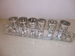 Sterling Silver 6 Liquer/vodka Cups On A Tray Handmade Mexico Signed