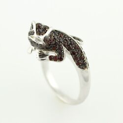 Sterling Silver 1.40ctw Chinese Garnet Chameleon Shaped Ring Size 7