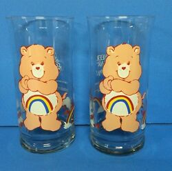 Care Bear Pizza Hut Glasses 1983 Cheer Bear With Rainbows On Belly Set Of 2