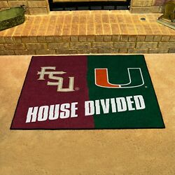 Florida State Seminoles - Miami Hurricanes House Divided All Star Area Rug Mat