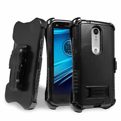 For Motorola Turbo 2 / X Force Case + Belt Clip Holster Stand Screen Protector