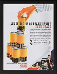 Keglined Cans 1940 Vintage Ad Repro A3 Framed Photographic Print Poster