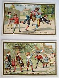Set Of 2 Victorian French Trade Cards For Chocolat Poulain Children Playing