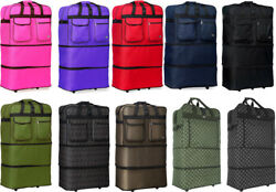 30/36/40 Expandable Rolling Duffel Bag Wheeled Spinner Suitcase Luggage
