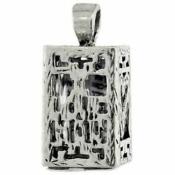 Silver 925 Thick Mezuzah Pendant And Shema Israel Scroll Israel Judaica Necklace
