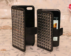 For Mobile Phone New Bling Crystals Lovely Wallet Leather Slot Cards Cover Case