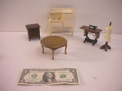 Dollhouse Furniture Miniatures Sewing Machine, Dress Form, Stove And Tables