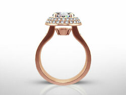 NEW DESIGN 3.85 CT F SI1 ROUND DIAMOND RING 14 K RED ROSE GOLD SIDE STONES