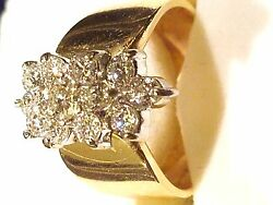 Limited Time Diamond 14k Gold Ring With 1 Tcw Of 13 Brilliant Si1 Diamonds