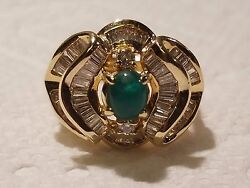 Limited Time Exquisite 14k Gold 1.5 Ctw Baguette Diamond And Emerald Ring